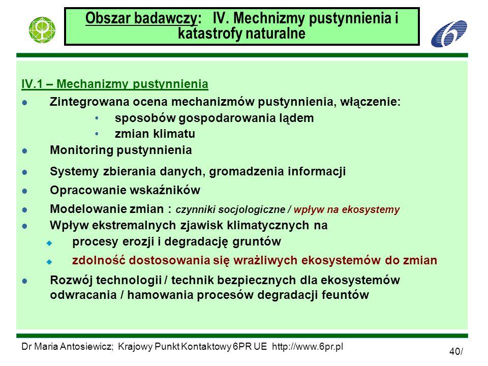 Dr Maria Antosiewicz; Krajowy Punkt Kontaktowy 6PR UE http://www.6pr.pl 40/ Obszar badawczy: IV. Mechnizmy pustynnienia i katastrofy naturalne IV.1 –
