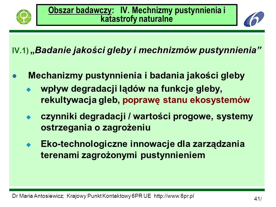 Dr Maria Antosiewicz; Krajowy Punkt Kontaktowy 6PR UE http://www.6pr.pl 41/ Obszar badawczy: IV. Mechnizmy pustynnienia i katastrofy naturalne Badanie