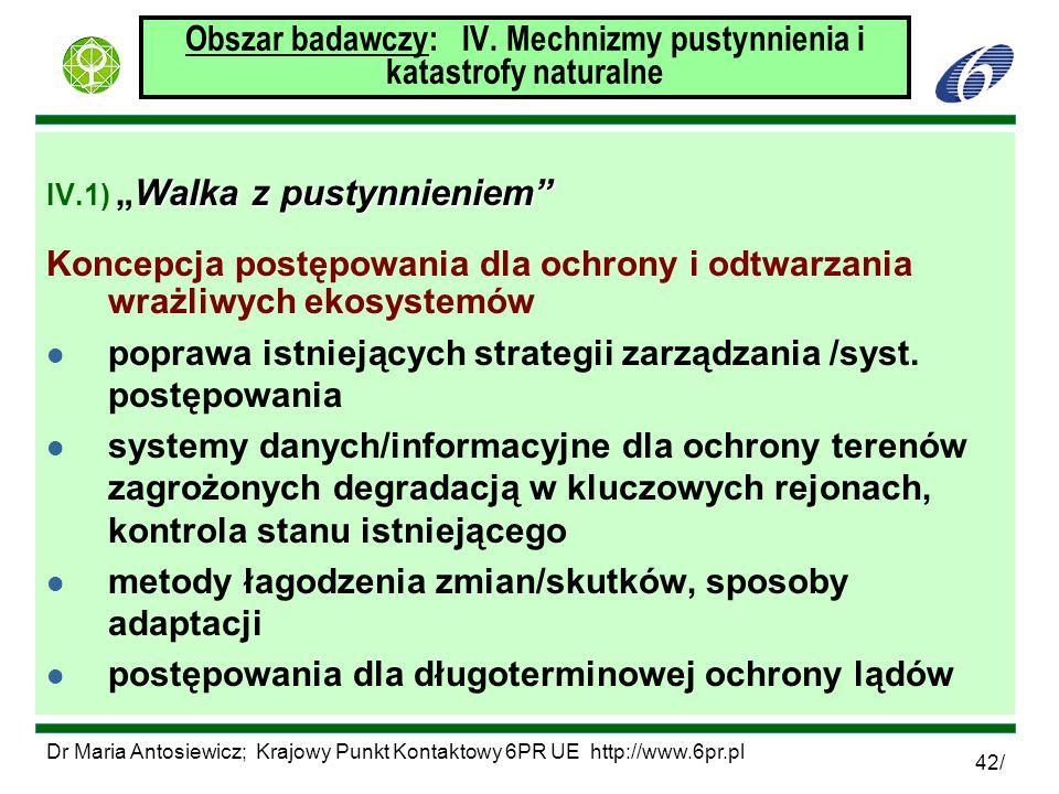 Dr Maria Antosiewicz; Krajowy Punkt Kontaktowy 6PR UE http://www.6pr.pl 42/ Obszar badawczy: IV. Mechnizmy pustynnienia i katastrofy naturalne Walka z