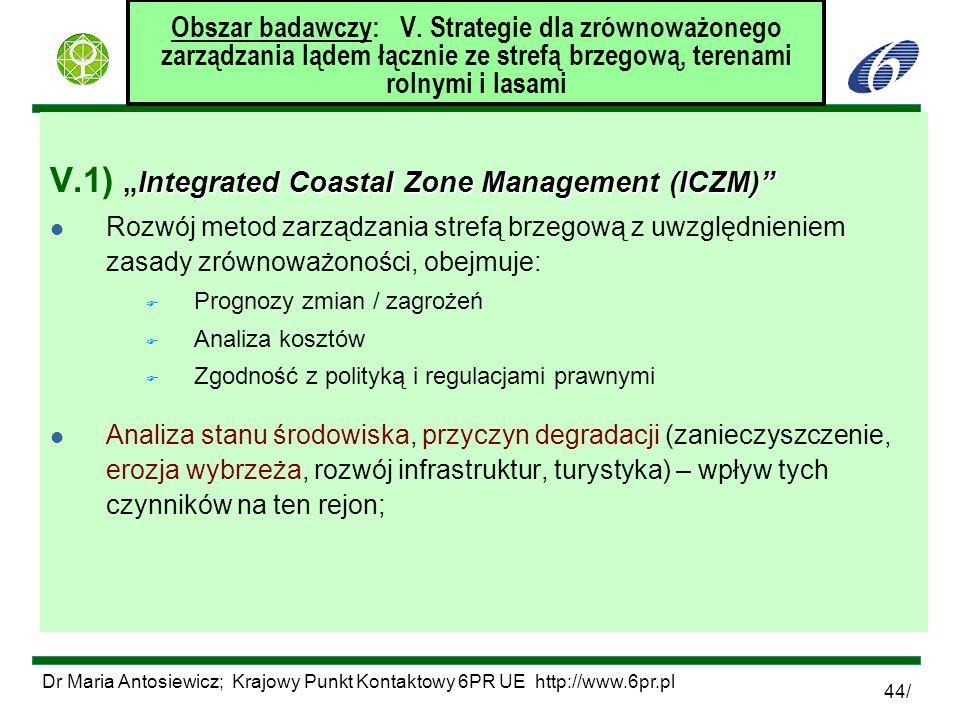 Dr Maria Antosiewicz; Krajowy Punkt Kontaktowy 6PR UE http://www.6pr.pl 44/ Obszar badawczy: V. Strategie dla zrównoważonego zarządzania lądem łącznie