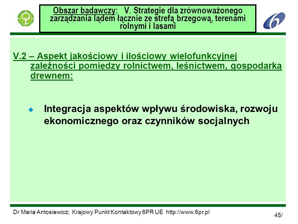 Dr Maria Antosiewicz; Krajowy Punkt Kontaktowy 6PR UE http://www.6pr.pl 45/ Obszar badawczy: V. Strategie dla zrównoważonego zarządzania lądem łącznie