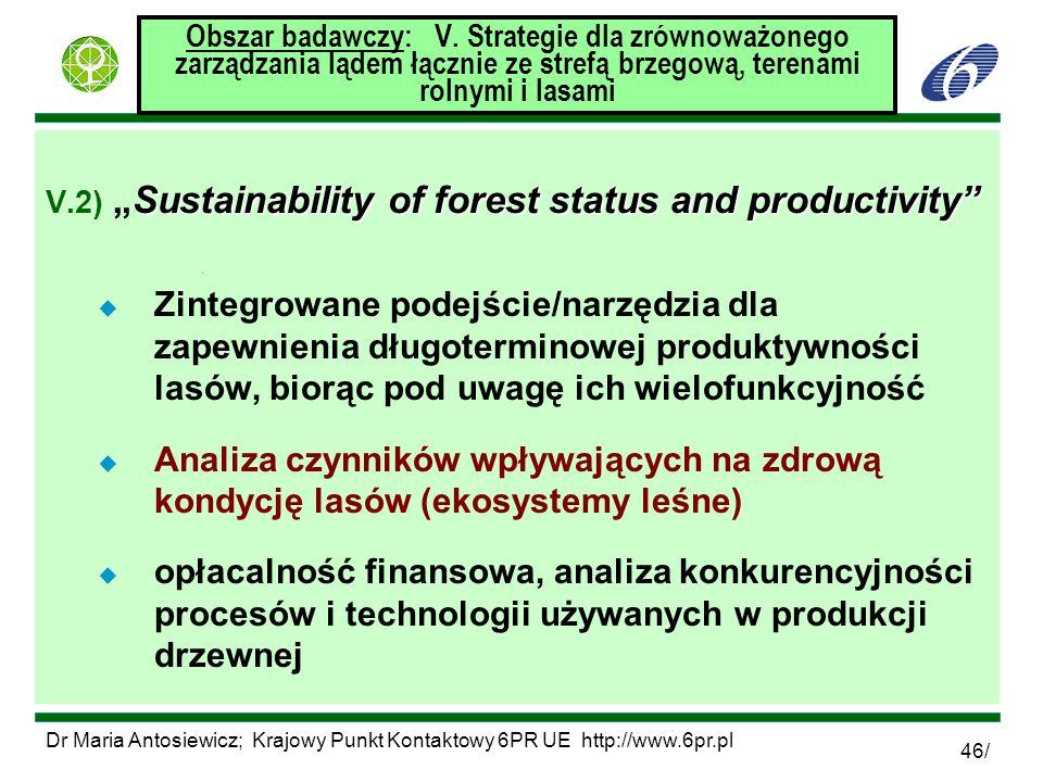 Dr Maria Antosiewicz; Krajowy Punkt Kontaktowy 6PR UE http://www.6pr.pl 46/ Obszar badawczy: V. Strategie dla zrównoważonego zarządzania lądem łącznie