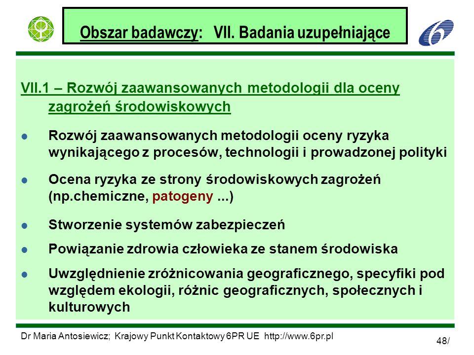 Dr Maria Antosiewicz; Krajowy Punkt Kontaktowy 6PR UE http://www.6pr.pl 48/ Obszar badawczy: VII. Badania uzupełniające VII.1 – Rozwój zaawansowanych