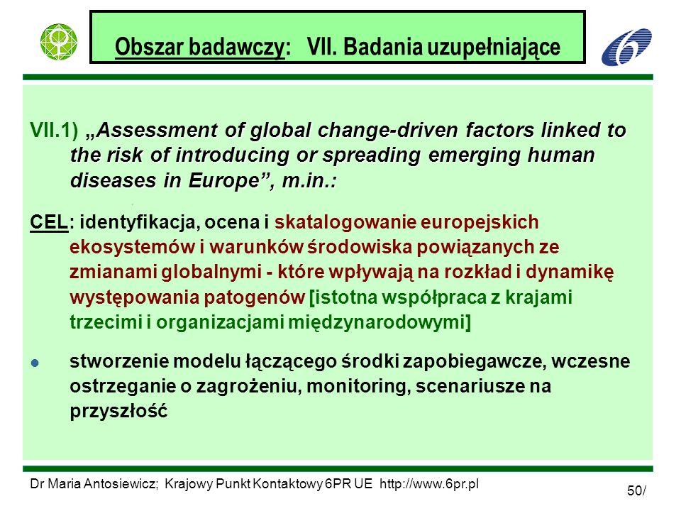 Dr Maria Antosiewicz; Krajowy Punkt Kontaktowy 6PR UE http://www.6pr.pl 50/ Obszar badawczy: VII. Badania uzupełniające Assessment of global change-dr