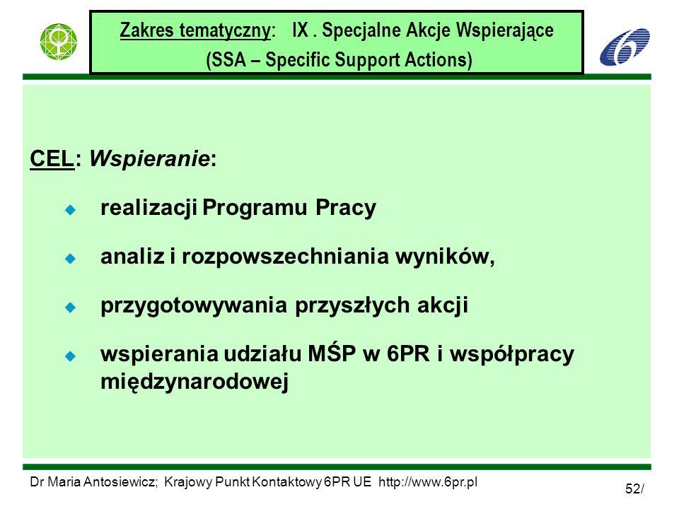 Dr Maria Antosiewicz; Krajowy Punkt Kontaktowy 6PR UE http://www.6pr.pl 52/ Zakres tematyczny: IX. Specjalne Akcje Wspierające (SSA – Specific Support