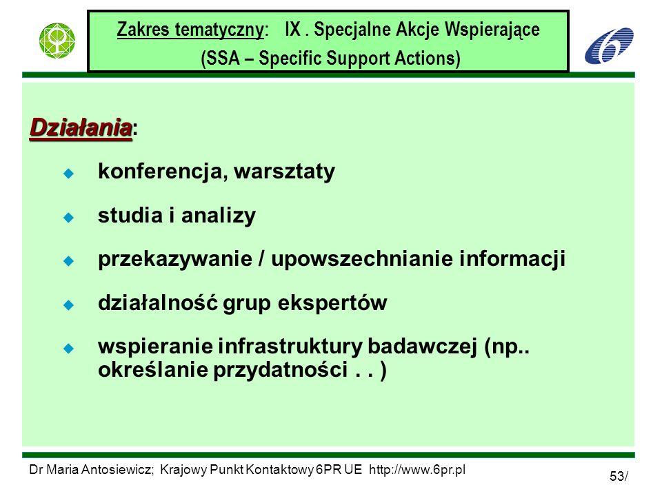 Dr Maria Antosiewicz; Krajowy Punkt Kontaktowy 6PR UE http://www.6pr.pl 53/ Zakres tematyczny: IX. Specjalne Akcje Wspierające (SSA – Specific Support