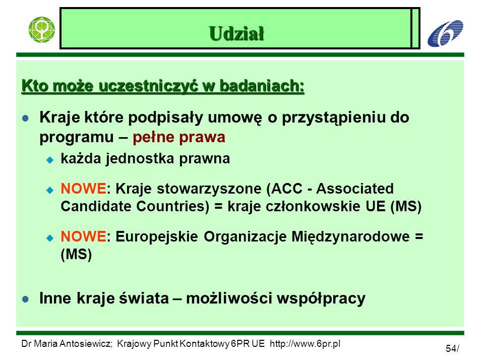 Dr Maria Antosiewicz; Krajowy Punkt Kontaktowy 6PR UE http://www.6pr.pl 54/ Zagadnienia środowiskowe w 6PR Kto może uczestniczyć w badaniach: l Kraje