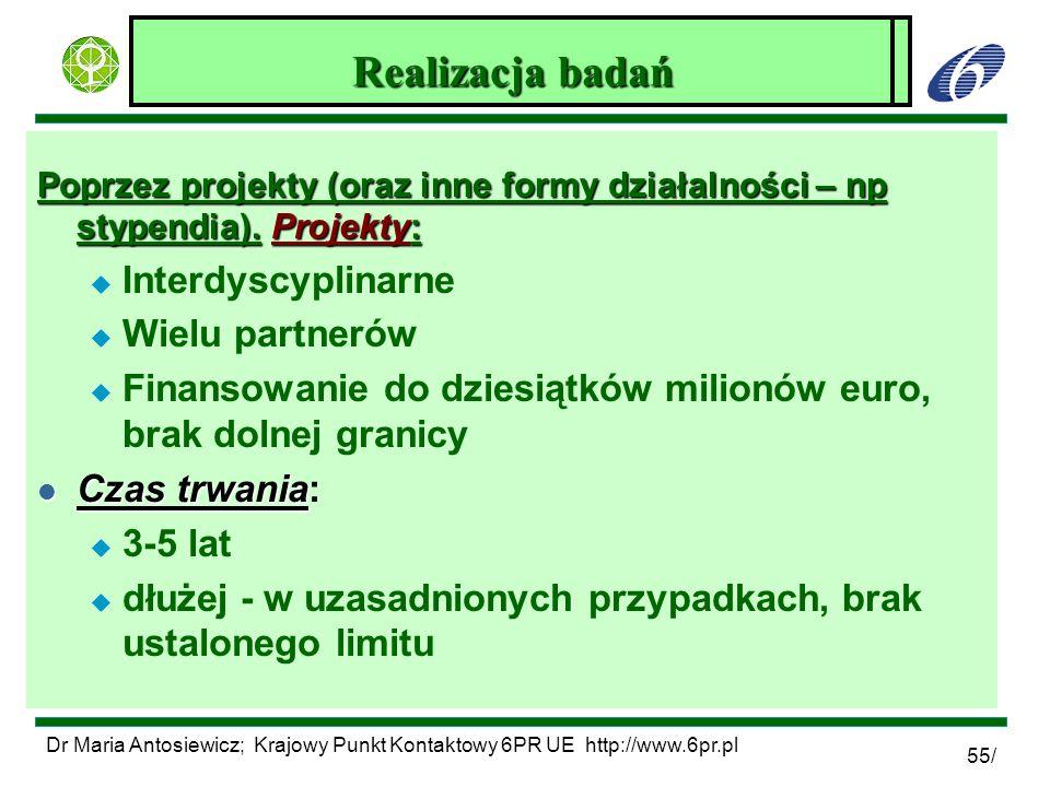 Dr Maria Antosiewicz; Krajowy Punkt Kontaktowy 6PR UE http://www.6pr.pl 55/ Zagadnienia środowiskowe w 6PR Poprzez projekty (oraz inne formy działalno