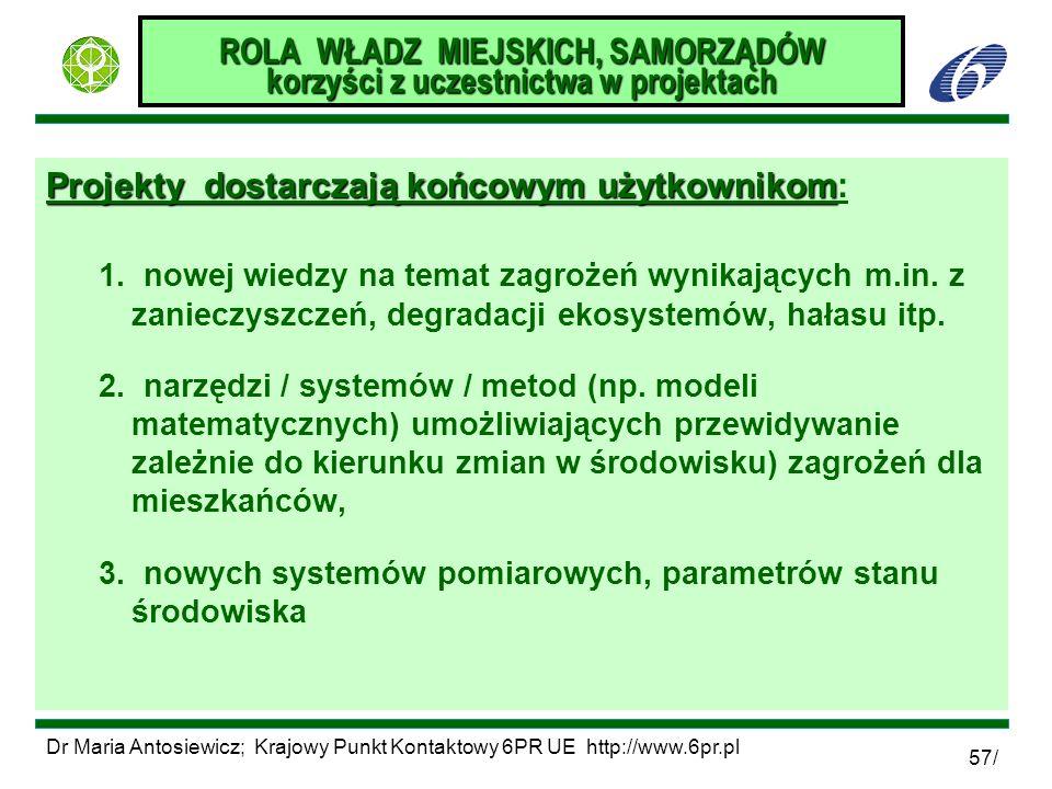 Dr Maria Antosiewicz; Krajowy Punkt Kontaktowy 6PR UE http://www.6pr.pl 57/ ROLA WŁADZ MIEJSKICH, SAMORZĄDÓW korzyści z uczestnictwa w projektach Proj