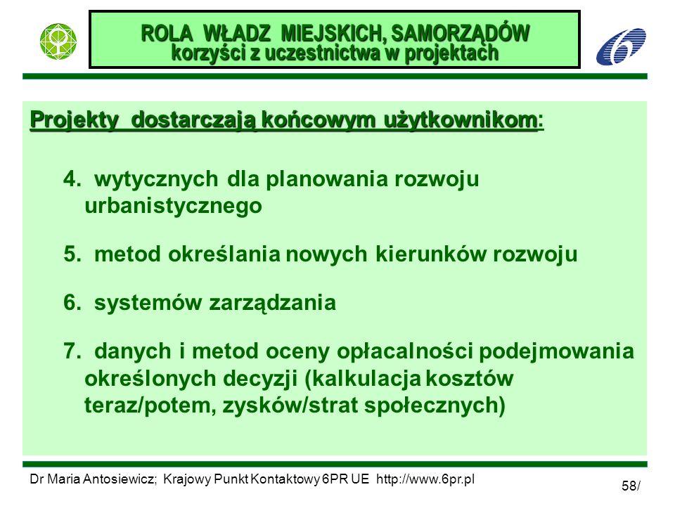 Dr Maria Antosiewicz; Krajowy Punkt Kontaktowy 6PR UE http://www.6pr.pl 58/ ROLA WŁADZ MIEJSKICH, SAMORZĄDÓW korzyści z uczestnictwa w projektach Proj