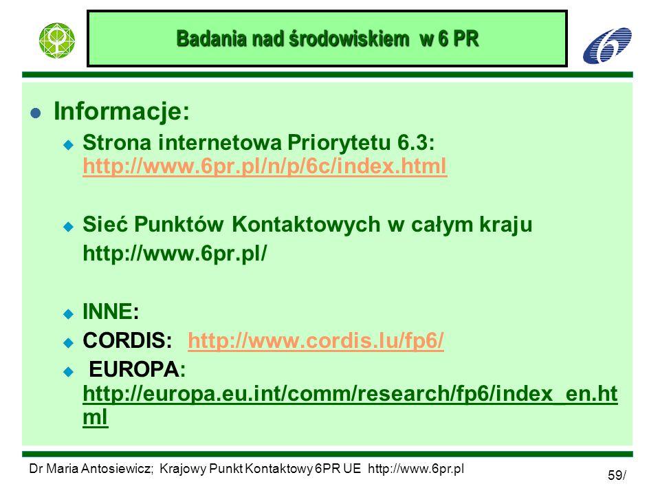 Dr Maria Antosiewicz; Krajowy Punkt Kontaktowy 6PR UE http://www.6pr.pl 59/ Badania nad środowiskiem w 6 PR l Informacje: u Strona internetowa Prioryt