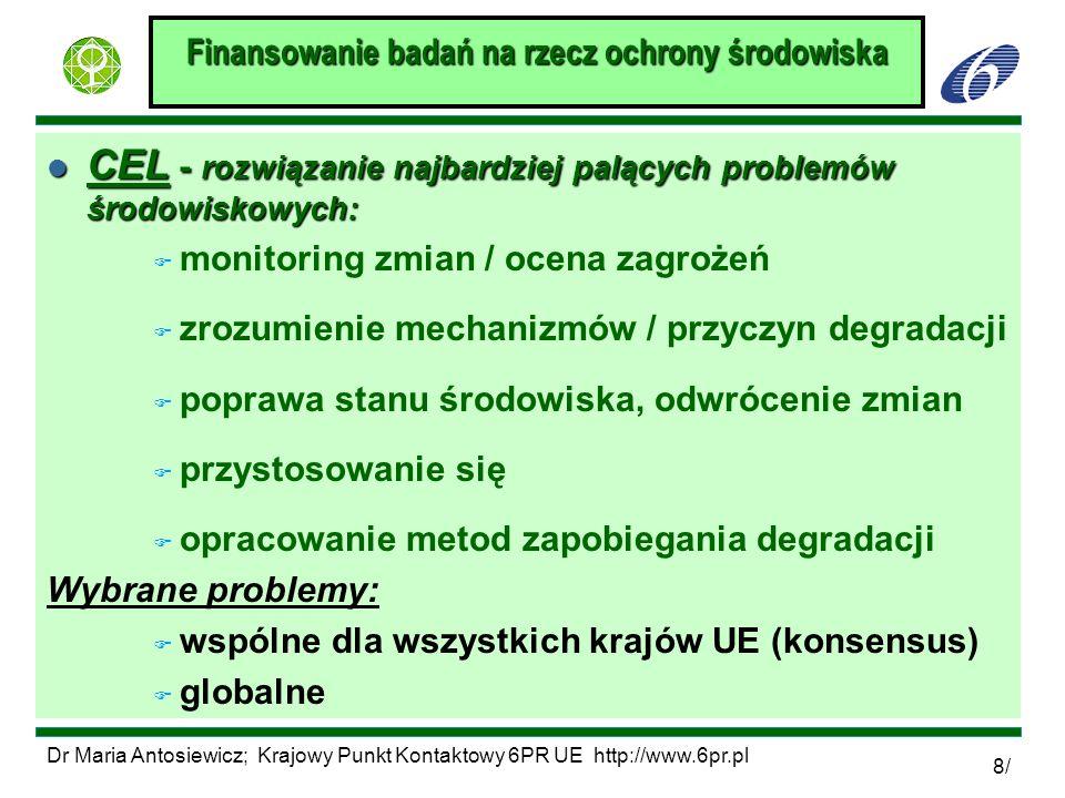 Dr Maria Antosiewicz; Krajowy Punkt Kontaktowy 6PR UE http://www.6pr.pl 8/ Finansowanie badań na rzecz ochrony środowiska l CEL - rozwiązanie najbardz