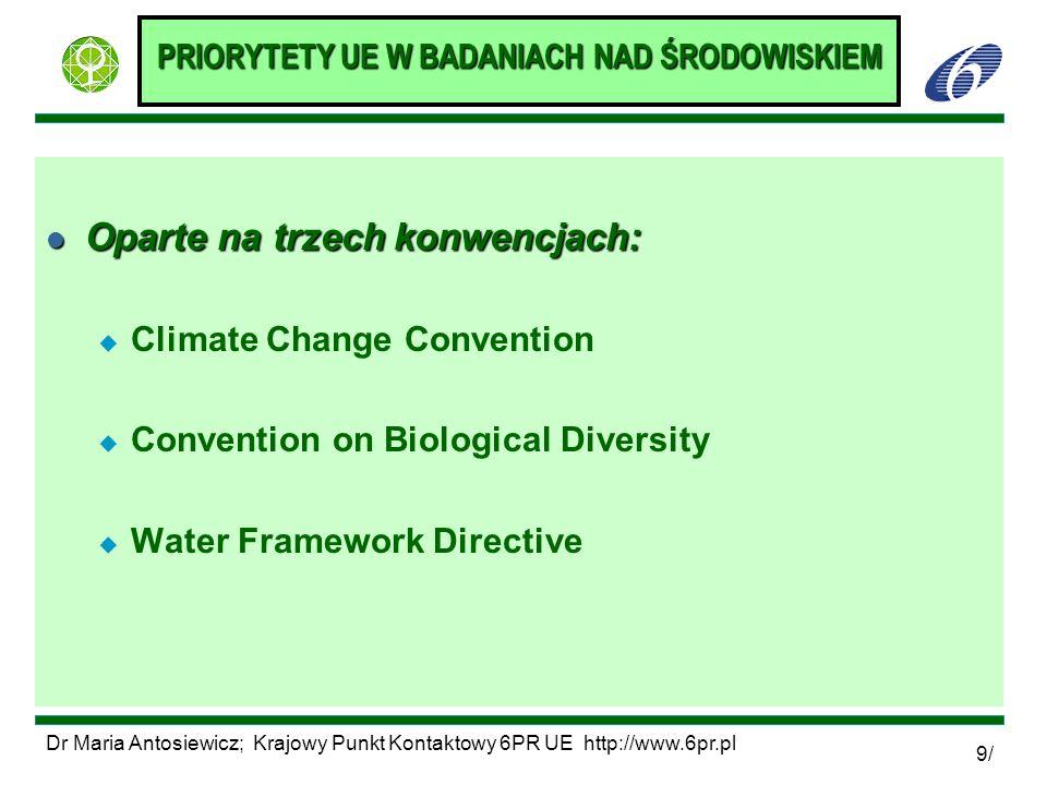 Dr Maria Antosiewicz; Krajowy Punkt Kontaktowy 6PR UE http://www.6pr.pl 9/ PRIORYTETY UE W BADANIACH NAD ŚRODOWISKIEM l Oparte na trzech konwencjach: