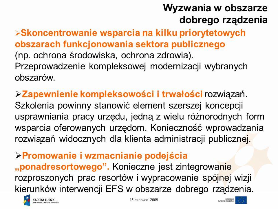 18 czerwca 2009 Wyzwania w obszarze dobrego rządzenia Skoncentrowanie wsparcia na kilku priorytetowych obszarach funkcjonowania sektora publicznego (np.