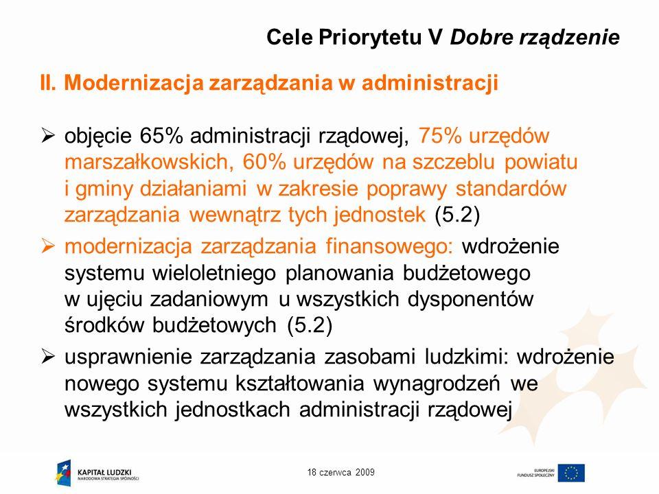 18 czerwca 2009 Cele Priorytetu V Dobre rządzenie II.
