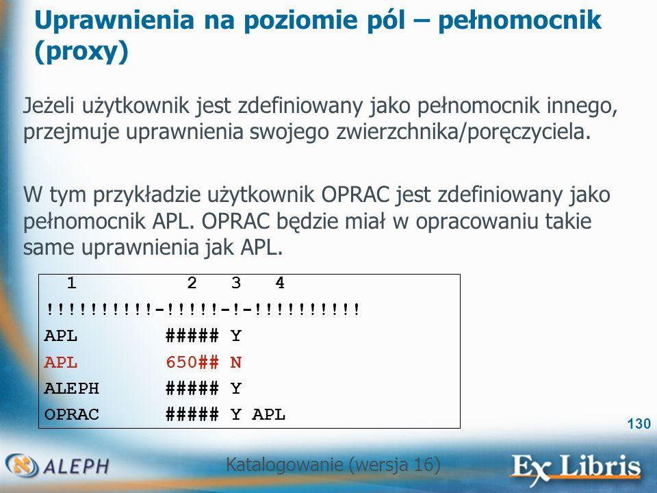 Katalogowanie (wersja 16) 130 Uprawnienia na poziomie pól – pełnomocnik (proxy) Jeżeli użytkownik jest zdefiniowany jako pełnomocnik innego, przejmuje