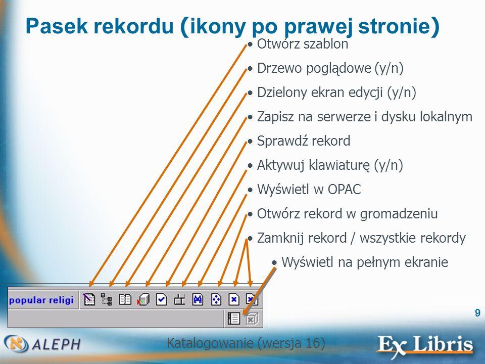 Katalogowanie (wersja 16) 70 Drzewo rekordu Rekordy HOL i ADM: Aby wyświetlić podgląd rekordu w górnym panelu, klikamy dwukrotnie na gałąź odpowiedniego rekordu.