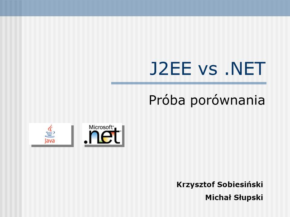 Skalowalność Rozwiązania J2EE umożliwiają dużo większą (niemal nieograniczoną) skalowalność w porównaniu do.NET Wiele serwerów J2EE może działać na sprzęcie klasy mainframe.NET ogranicza platformę sprzętową do x86 Jeśli chodzi o skalowalność -.NET jest tylko tak dobrze skalowalny jak architektura x86, a ta w porównaniu z np.