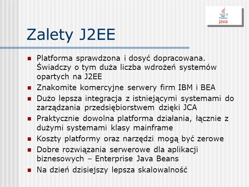Zalety J2EE Platforma sprawdzona i dosyć dopracowana. Świadczy o tym duża liczba wdrożeń systemów opartych na J2EE Znakomite komercyjne serwery firm I