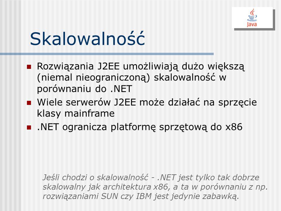 Skalowalność Rozwiązania J2EE umożliwiają dużo większą (niemal nieograniczoną) skalowalność w porównaniu do.NET Wiele serwerów J2EE może działać na sp