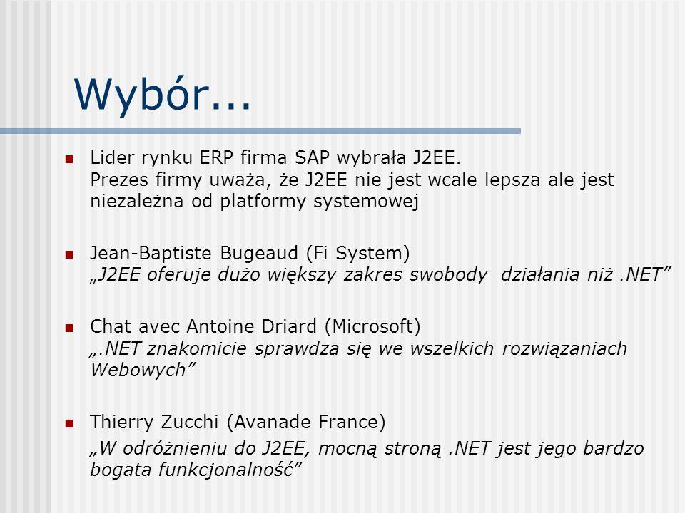 Wybór... Lider rynku ERP firma SAP wybrała J2EE. Prezes firmy uważa, że J2EE nie jest wcale lepsza ale jest niezależna od platformy systemowej Jean-Ba