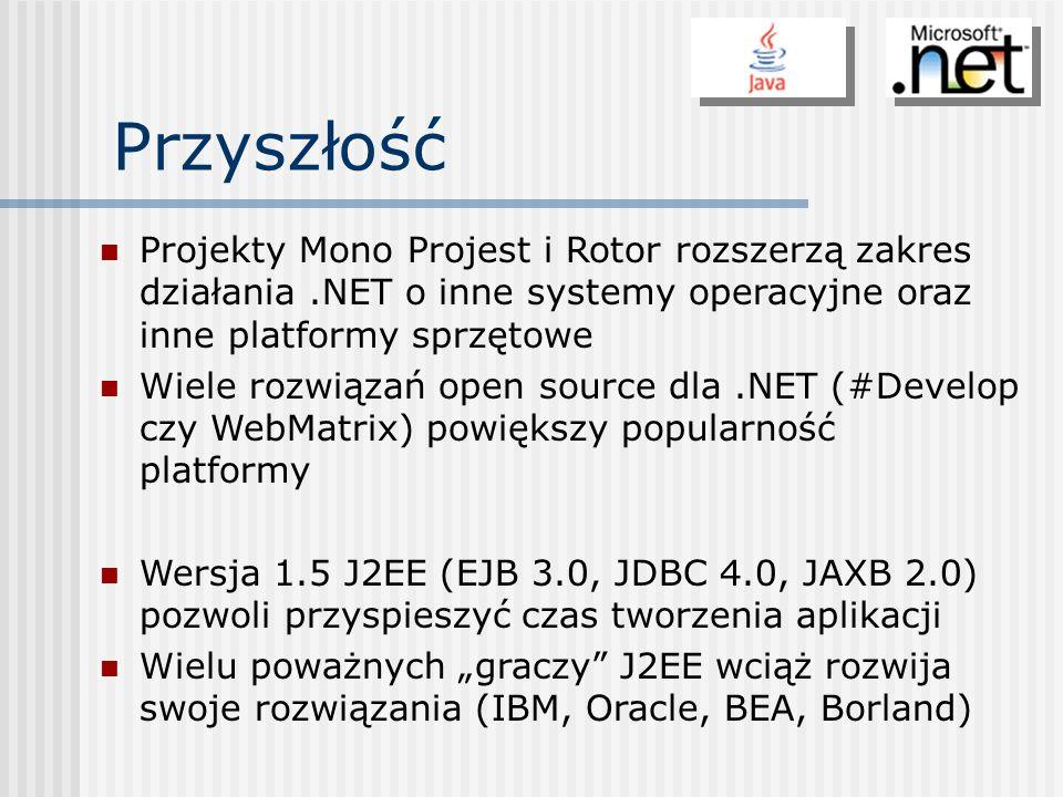 Przyszłość Projekty Mono Projest i Rotor rozszerzą zakres działania.NET o inne systemy operacyjne oraz inne platformy sprzętowe Wiele rozwiązań open s