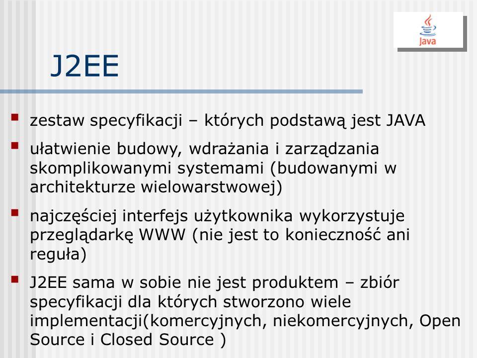 J2EE zestaw specyfikacji – których podstawą jest JAVA ułatwienie budowy, wdrażania i zarządzania skomplikowanymi systemami (budowanymi w architekturze