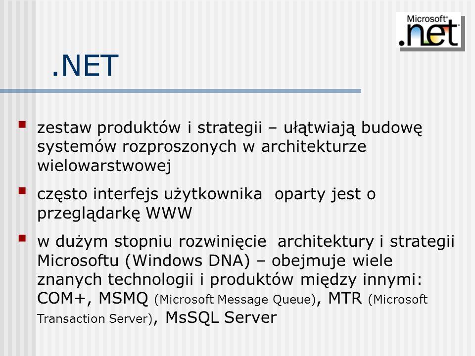 Składniki J2EE.NET środowiskojęzyk programowania Java i maszyna wirtualna język pośredni Microsoft Intermidiate Language (MSIL) i system wykonawczy Common Language Runtime (CLR) technologia budowy dynamicznych stron WWW JSP, serwletyASP.NET technologia komponentów rozproszonych Enterprise Java Beans.NET Managed Components zestaw protokołów komunikacyjnych IIOP, RMI, SOAPCOM+, SOAP