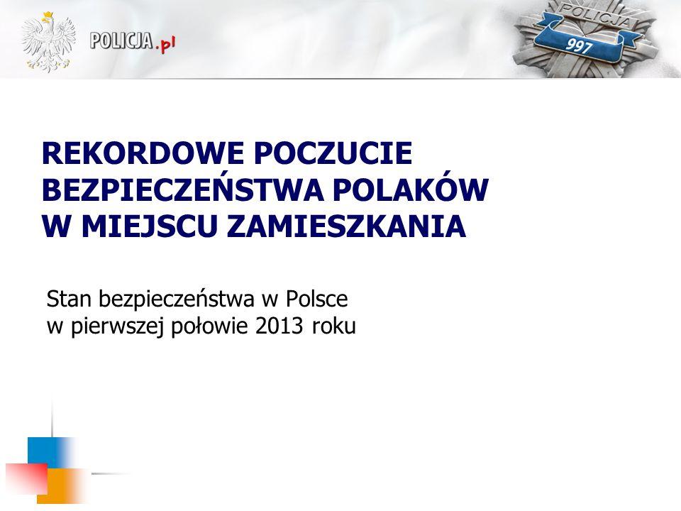 Stan bezpieczeństwa w Polsce w pierwszej połowie 2013 roku REKORDOWE POCZUCIE BEZPIECZEŃSTWA POLAKÓW W MIEJSCU ZAMIESZKANIA