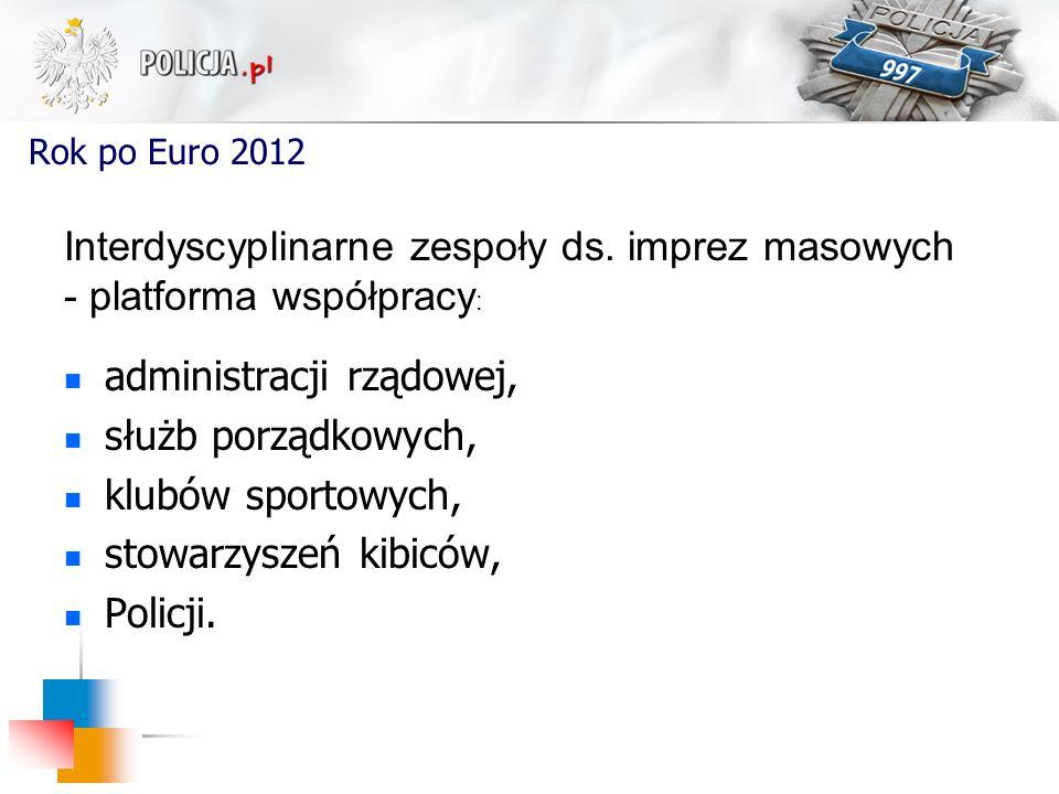 Rok po Euro 2012 administracji rządowej, służb porządkowych, klubów sportowych, stowarzyszeń kibiców, Policji. Interdyscyplinarne zespoły ds. imprez m