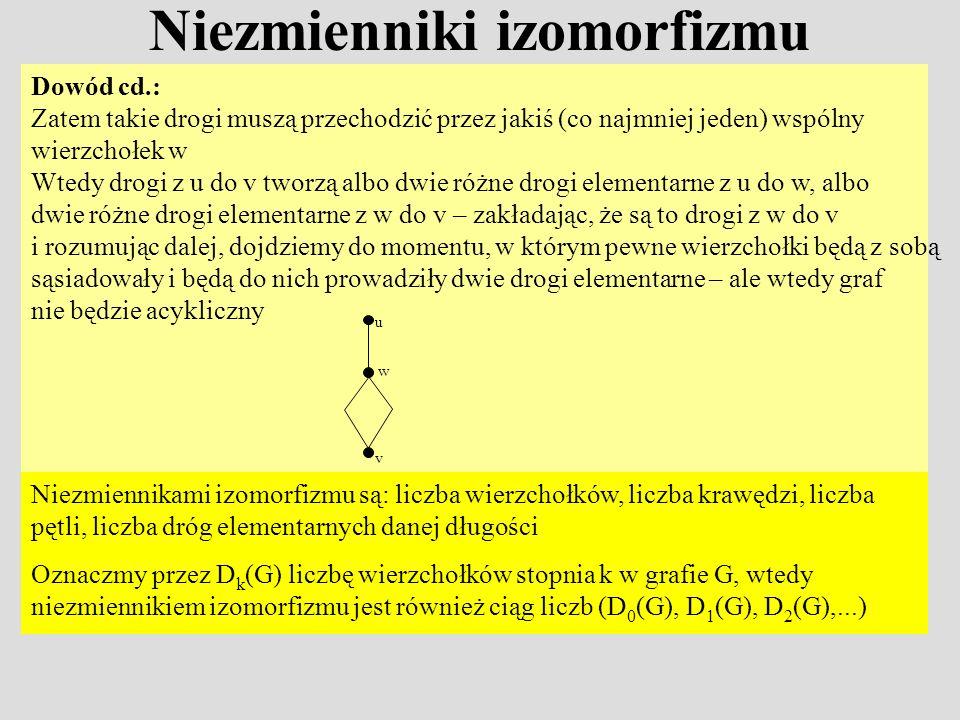 Niezmienniki izomorfizmu Dowód cd.: Zatem takie drogi muszą przechodzić przez jakiś (co najmniej jeden) wspólny wierzchołek w Wtedy drogi z u do v two