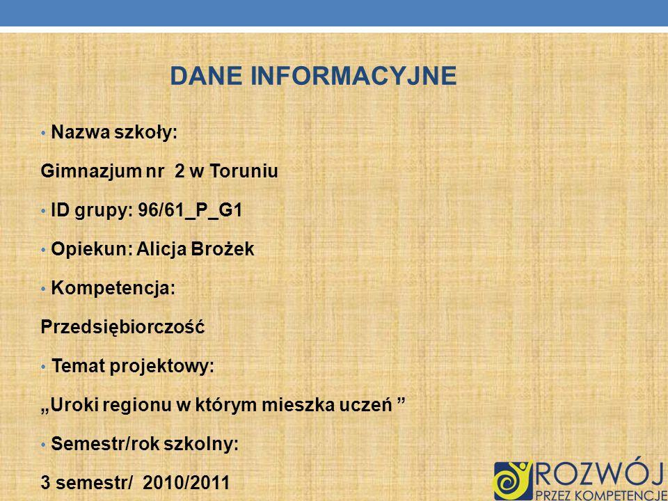 DANE INFORMACYJNE Nazwa szkoły: Gimnazjum nr 2 w Toruniu ID grupy: 96/61_P_G1 Opiekun: Alicja Brożek Kompetencja: Przedsiębiorczość Temat projektowy:
