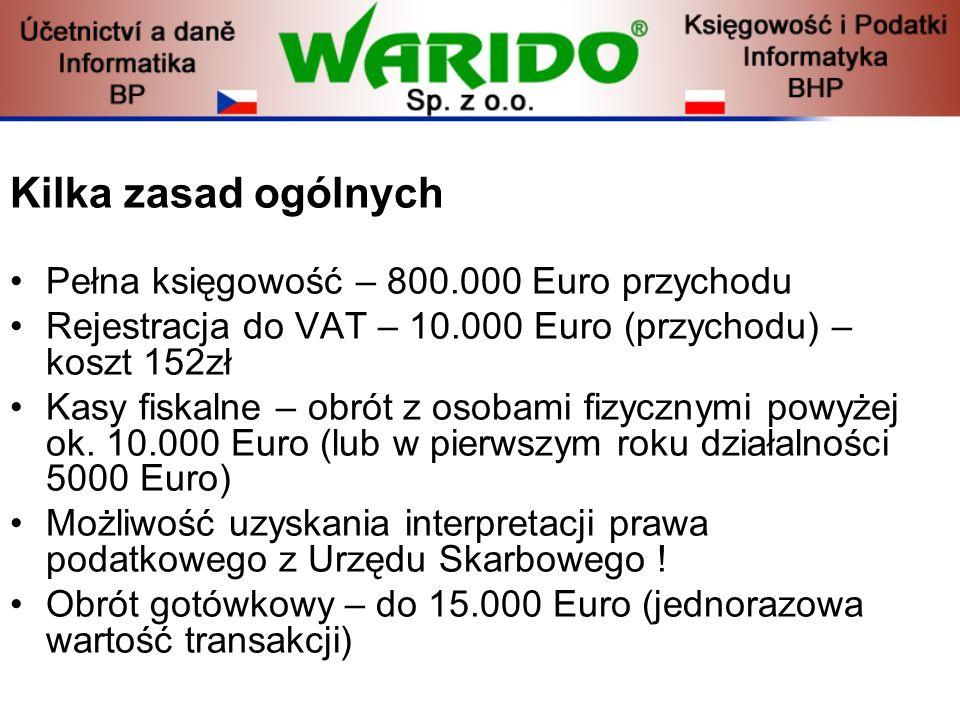 Kilka zasad ogólnych Pełna księgowość – 800.000 Euro przychodu Rejestracja do VAT – 10.000 Euro (przychodu) – koszt 152zł Kasy fiskalne – obrót z osob
