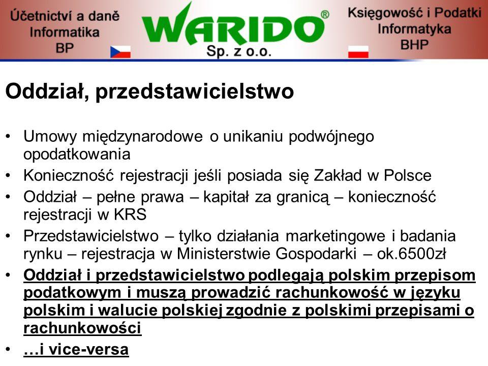 Oddział, przedstawicielstwo Umowy międzynarodowe o unikaniu podwójnego opodatkowania Konieczność rejestracji jeśli posiada się Zakład w Polsce Oddział