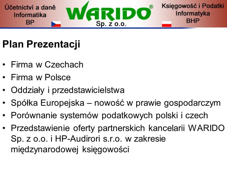 Plan Prezentacji Firma w Czechach Firma w Polsce Oddziały i przedstawicielstwa Spółka Europejska – nowość w prawie gospodarczym Porównanie systemów po