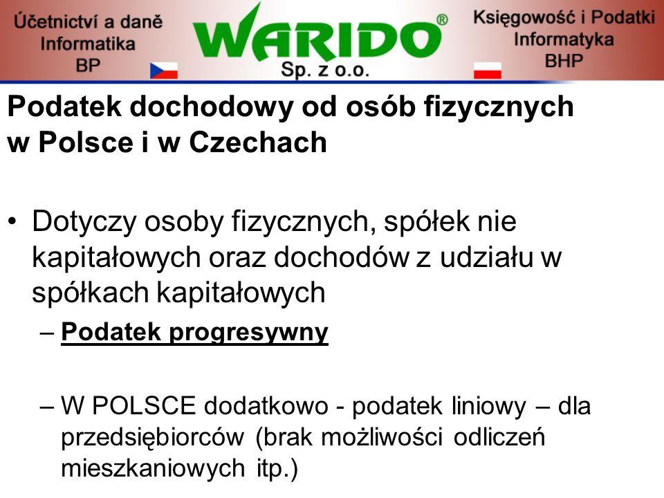 Podatek dochodowy od osób fizycznych w Polsce i w Czechach Dotyczy osoby fizycznych, spółek nie kapitałowych oraz dochodów z udziału w spółkach kapita