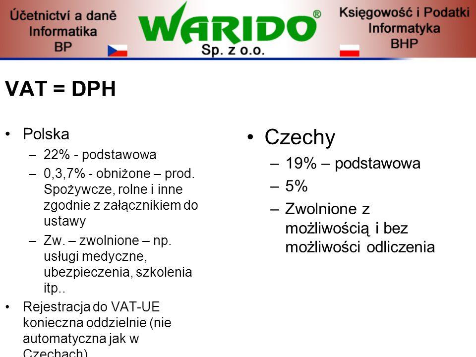 VAT = DPH Polska –22% - podstawowa –0,3,7% - obniżone – prod. Spożywcze, rolne i inne zgodnie z załącznikiem do ustawy –Zw. – zwolnione – np. usługi m