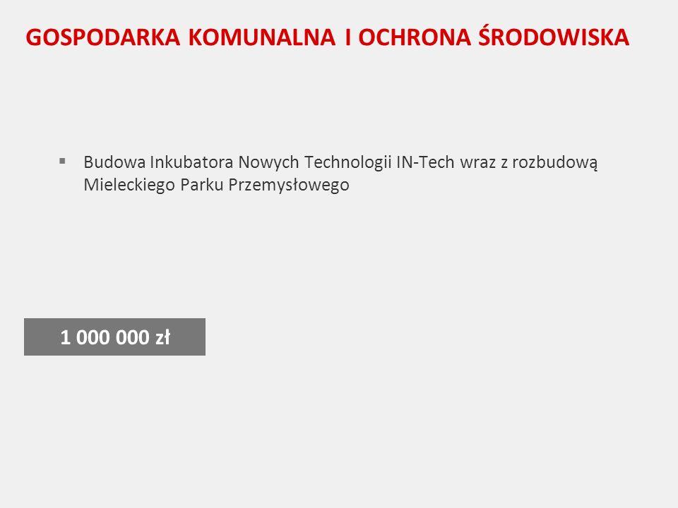 GOSPODARKA KOMUNALNA I OCHRONA ŚRODOWISKA Budowa Inkubatora Nowych Technologii IN-Tech wraz z rozbudową Mieleckiego Parku Przemysłowego 1 000 000 zł