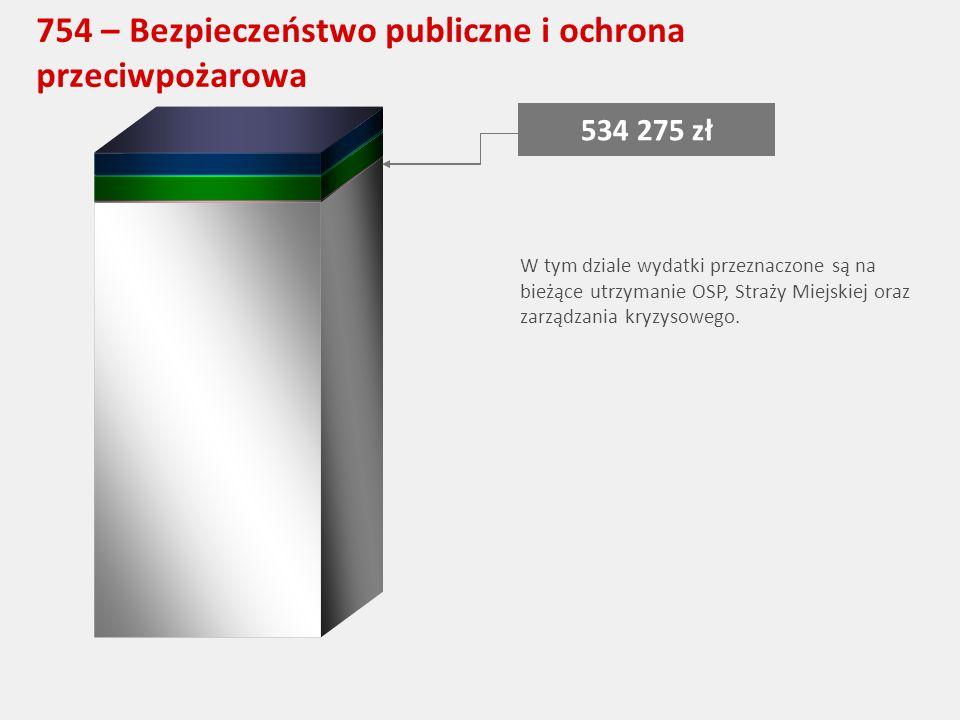 754 – Bezpieczeństwo publiczne i ochrona przeciwpożarowa 534 275 zł W tym dziale wydatki przeznaczone są na bieżące utrzymanie OSP, Straży Miejskiej oraz zarządzania kryzysowego.