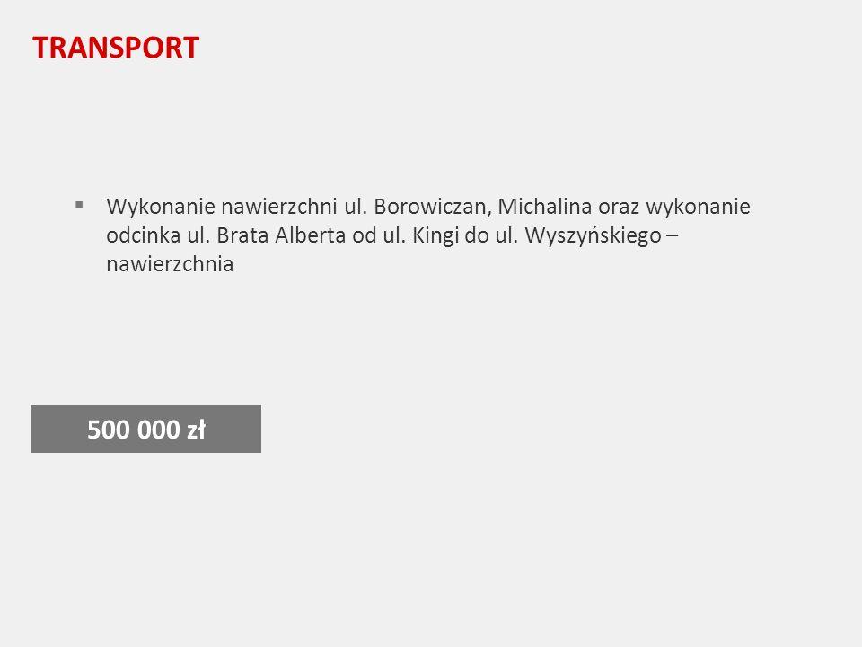 TRANSPORT Wykonanie nawierzchni ul. Borowiczan, Michalina oraz wykonanie odcinka ul.