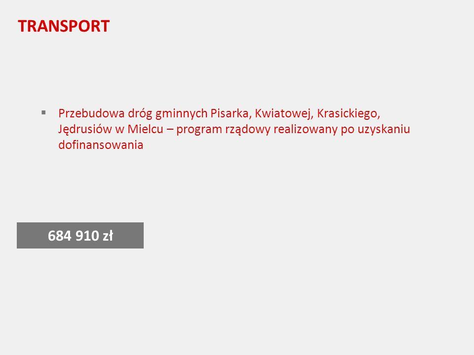 TRANSPORT Przebudowa dróg gminnych Pisarka, Kwiatowej, Krasickiego, Jędrusiów w Mielcu – program rządowy realizowany po uzyskaniu dofinansowania 684 910 zł