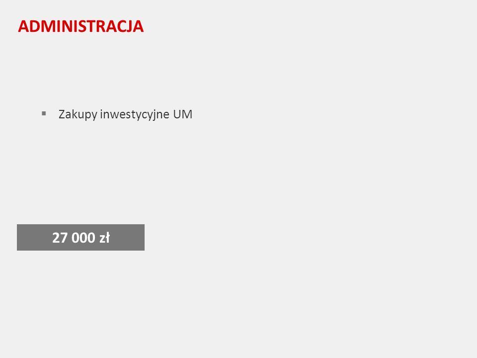 ADMINISTRACJA Zakupy inwestycyjne UM 27 000 zł