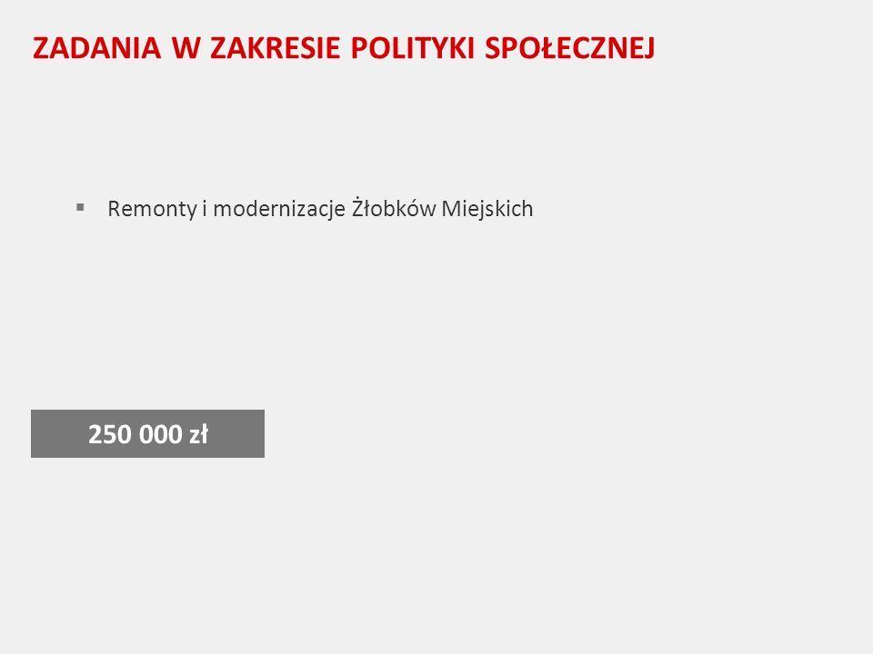 ZADANIA W ZAKRESIE POLITYKI SPOŁECZNEJ Remonty i modernizacje Żłobków Miejskich 250 000 zł