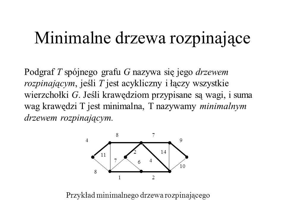 Minimalne drzewa rozpinające (algorytm ogólny) Podczas wykonywania algorytmu jest utrzymywany zbiór A – podzbiór minimalnego drzewa rozpinającego.
