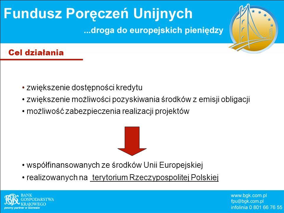 Cel działania zwiększenie dostępności kredytu zwiększenie możliwości pozyskiwania środków z emisji obligacji możliwość zabezpieczenia realizacji projektów współfinansowanych ze środków Unii Europejskiej realizowanych na terytorium Rzeczypospolitej Polskiej