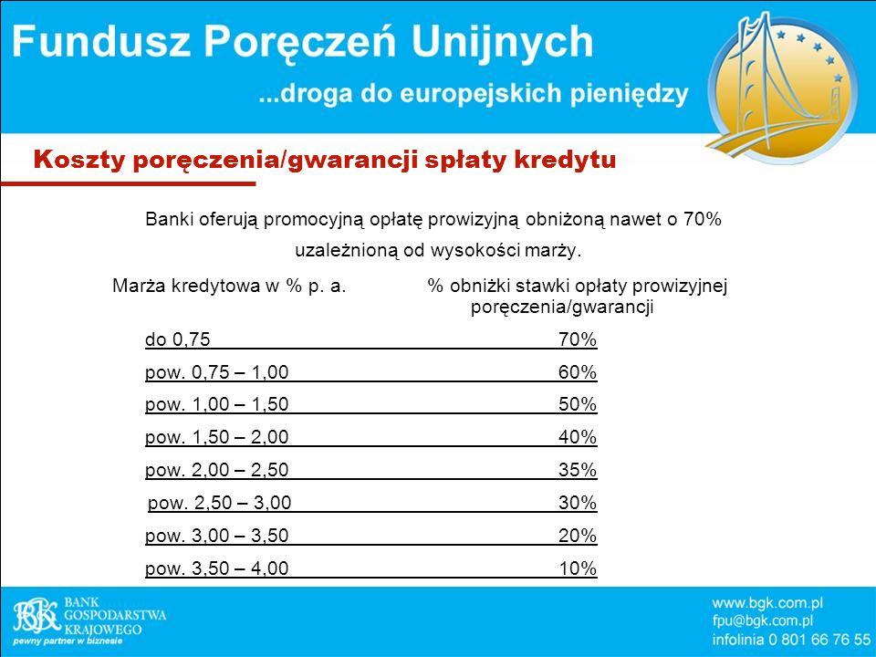 Koszty poręczenia/gwarancji spłaty kredytu Banki oferują promocyjną opłatę prowizyjną obniżoną nawet o 70% uzależnioną od wysokości marży.