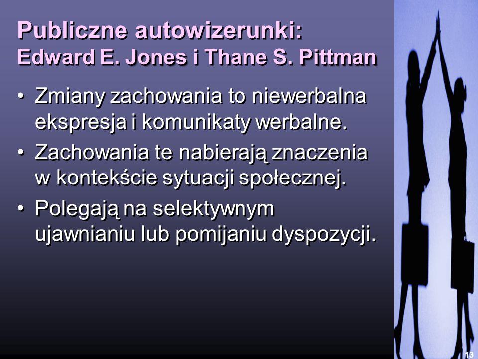 JonesPittman Publiczne autowizerunki: Edward E. Jones i Thane S. Pittman 13 Zmiany zachowania to niewerbalna ekspresja i komunikaty werbalne. Zachowan