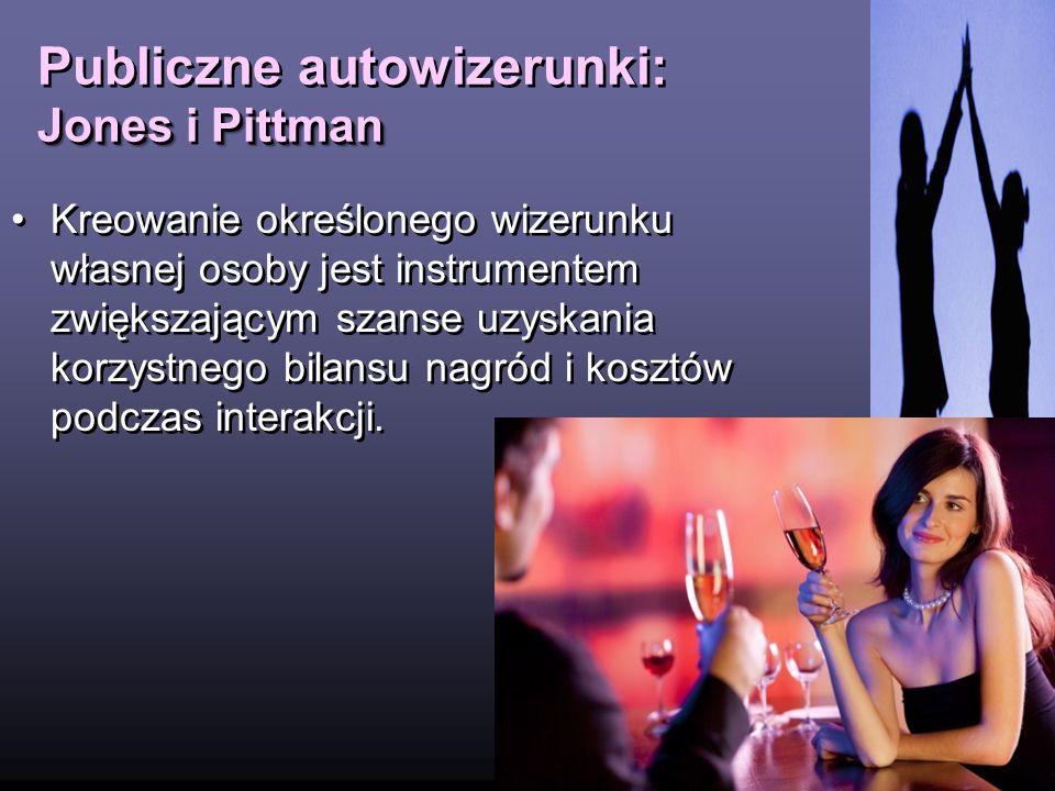 JonesPittman Publiczne autowizerunki: Jones i Pittman 14 Kreowanie określonego wizerunku własnej osoby jest instrumentem zwiększającym szanse uzyskani