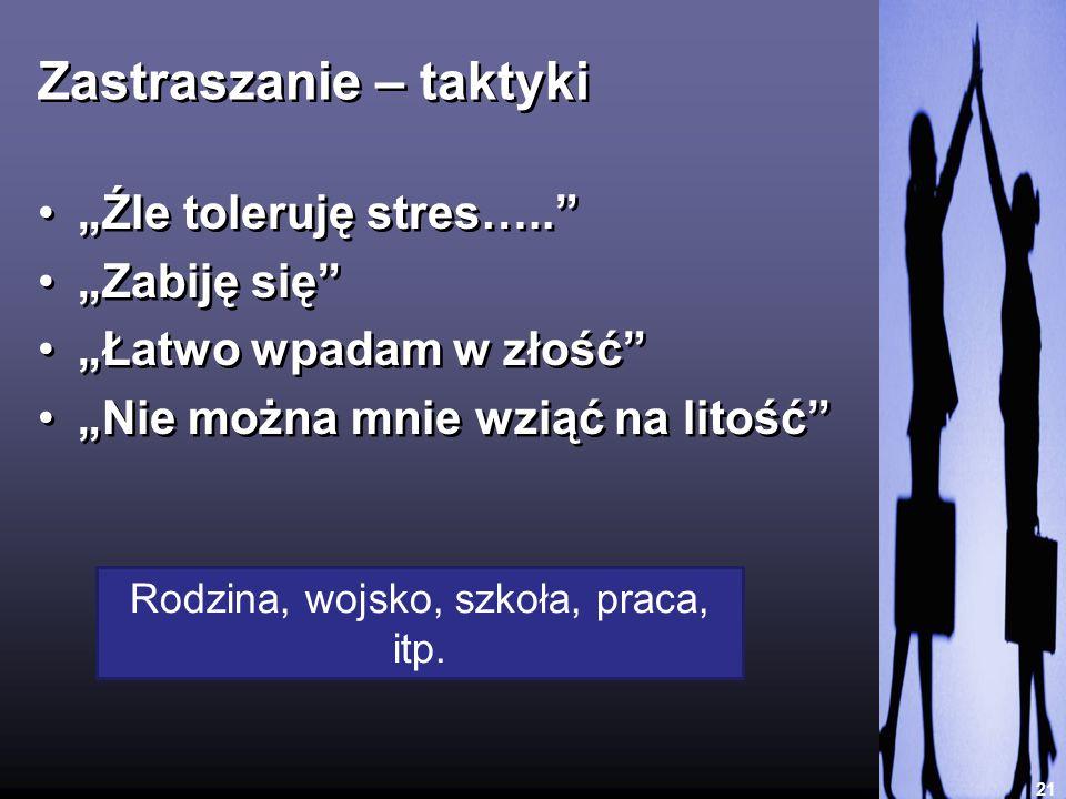 Zastraszanie – taktyki 21 Źle toleruję stres….. Zabiję się Łatwo wpadam w złość Nie można mnie wziąć na litość Źle toleruję stres….. Zabiję się Łatwo