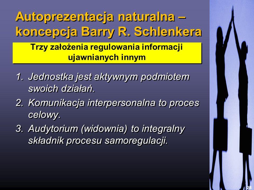 Autoprezentacja naturalna – koncepcja Barry R. Schlenkera 1.Jednostka jest aktywnym podmiotem swoich działań. 2.Komunikacja interpersonalna to proces